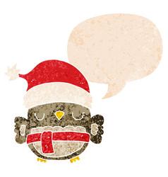 Cute christmas owl and speech bubble in retro vector