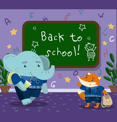 cute funny animal students in the calssroom back vector image