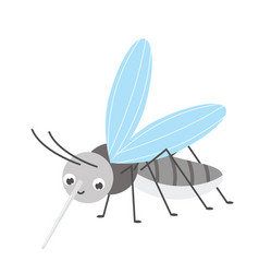 Cute mosquito cartoon insect character vector