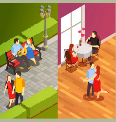 dating isometric vertical banners vector image