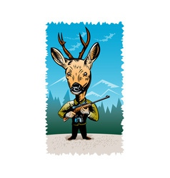 Deer with hunting rifle vector