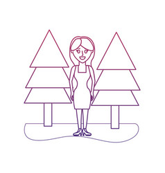 Degraded outline happy woman with elegant dress vector