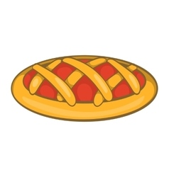 Delicious cherry pie icon cartoon style vector image