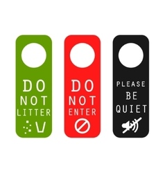 Do not litter enter be quiet door signs vector