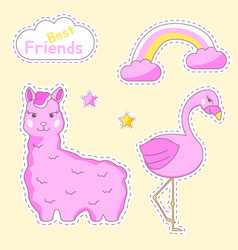 doodle animals set vector image