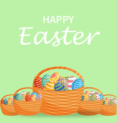 easter eggs in a wicker nest and rectangular vector image
