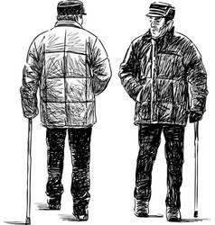 Elderly men on a stroll vector