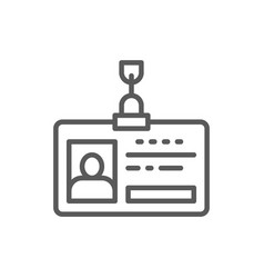 Employee pass id card identity profile line icon vector