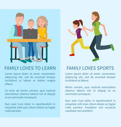 Family loves to learn and sport colorful cards vector