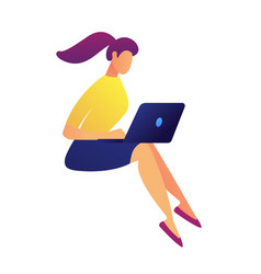 female freelance designer working on laptop vector image