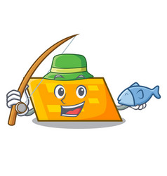fishing parallelogram mascot cartoon style vector image