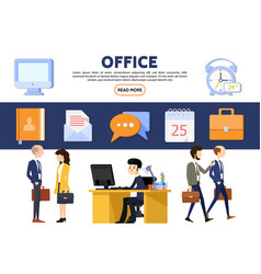 flat business office concept vector image