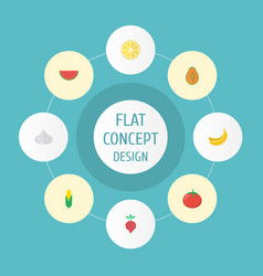 Flat icons maize lime jungle fruit and other vector