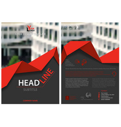 Flyer template with red geometric ribbon vector