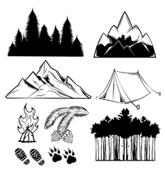 Forest Tattoo Element Set vector
