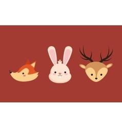 Fox rabbit deer icons image vector