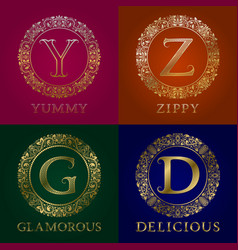 golden templates for yummy zippy glamorous vector image