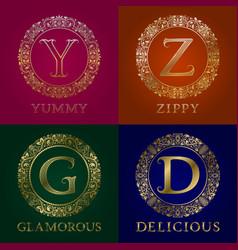 golden templates for yummy zippy glamorous vector image