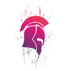 Grunge spartan helmet in profile on white vector