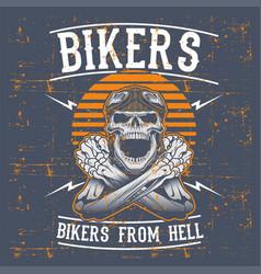 grunge style skull bikers wearing retro helmet vector image