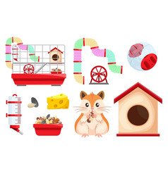 hamster habitat and accessories rodent cage two vector image