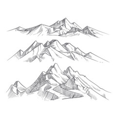 Hand drawing mountain ranges in engraving style vector