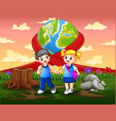 Happy world day with two school kids vector
