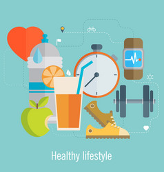 healthy lifestyle flat food water and sport vector image