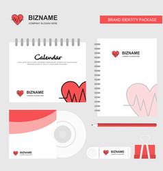 Heart ecg logo calendar template cd cover diary vector