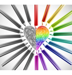 Heart With Color Pencils vector image