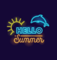 hello summer creative banner with realistic neon vector image