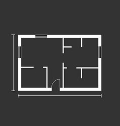 House plan simple flat icon on black background vector