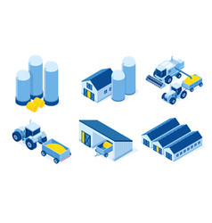 Isometric storehouse and agricultural machinery vector