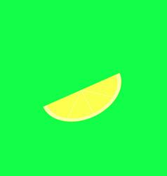 lemon slice on the green background vector image