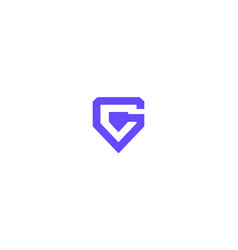 Letter g or initial g for game shield guard vector