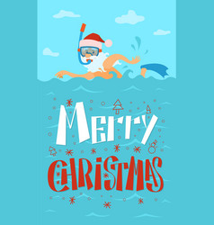 Merry christmas santa claus swimming diving mask vector