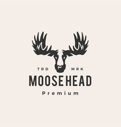 moose head hipster vintage logo icon vector image