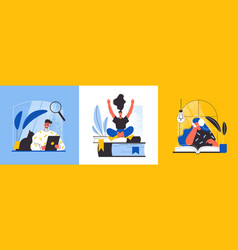 Online library design concept vector
