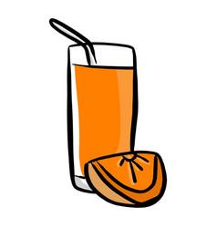 orange juice sketch hand drawn vector image