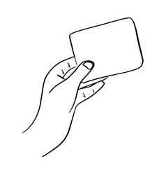 outline hand holding blank card vector image
