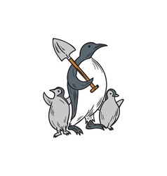 Penguin Holding Shovel With Chicks Drawing vector image