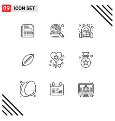 Pictograph set 9 simple outlines sport rugby vector