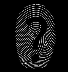 question mark on a fingerprint vector image