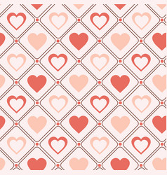 Retro seamless pattern pastel hearts romantic vector