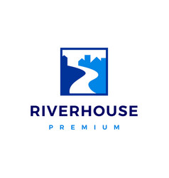 river house creek logo icon vector image