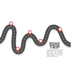 road with red pins navigating milestone timeline vector image