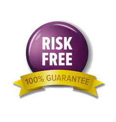 round violet button with words risk free vector image vector image