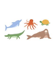 set cute underwater animals octopus dolphin vector image