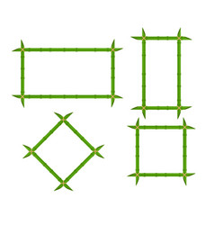 set green bamboo frames of different shapes with vector image