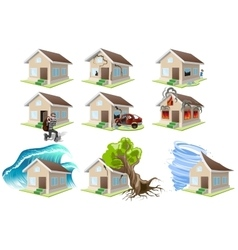 Set homes misfortune house insurance property vector